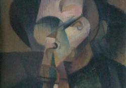 02 Fej, 1916 k, vászon, olaj, 28x24 cm