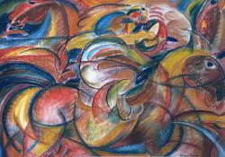 02 Vágtató zsoké, 1971, papír, sz. kréta, 59x84 cm