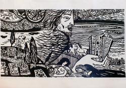 03 Az ember diadala, 1972, papír, linómetszet, 31x56 cm