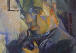 03 Pipás portré, 1920, karton, olaj, 54x48 cm