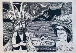 04 A bölcs és az anya, 1975, papír, linómetszet, 43x60 cm