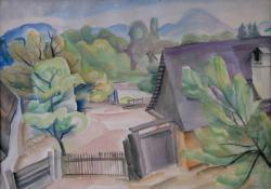 05 Parasztudvar, papír, akvarell, 36x51 cm