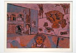 05 Vár szoborral, 1975, papír, fametszet, 29x40,5 cm