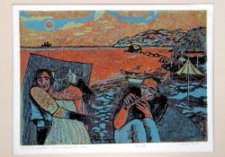 06 Tengerparton, 1976, papír, fametszet, 29x40,5 cm