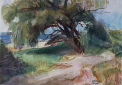 07 Tájkép fával, papír, akvarell, 24x31 cm