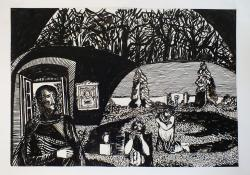 07 Zsenyei park, 1976, papír, tus, 48x69 cm