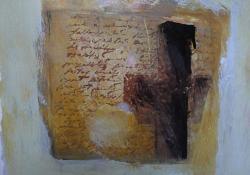 Levél I, 1993, akril, papír, 25x25 cm
