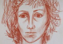 09 Önarckép, 1984, papír, kréta, 29,5x21 cm