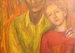 10 Papa unokájával, Petivel, 1985, farost, olaj, 100x69 cm