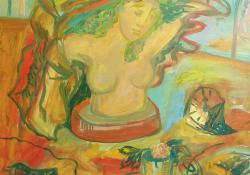 12 Szobor-terv, 1990, farost, olaj, 78x60 cm