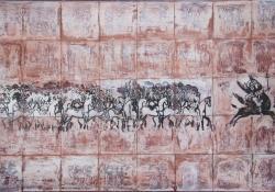 Szent Mihály arkangyak az angyali seregek élén, 2013, akril, falemez, 51x80 cm