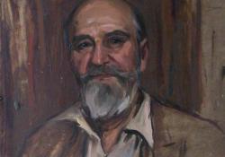 A 80 éves Istók János, 1953, olaj, karton, 59x49 cm