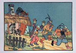 A brémai muzsikusok III, sz. linómetszet, 315x445 mm