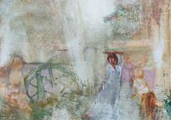 A délután szerkezete, 2012, olaj, vászon falemezen, 35x33 cm