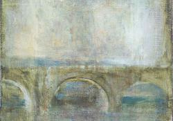 A híd, 2012, olaj, vegyes techn, vászon falemezen, 35,5x27,5 cm