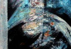 A holló, 2005, farost, olaj, 90x70 cm