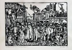 A kereszt kihirdetése (Dózsa I.), 1964, linómetszet, 175x250 mm