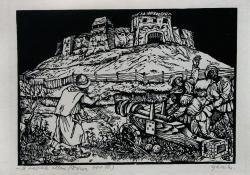A várak ellen (Dózsa IV.), 1964, linómetszet, 175x250 mm