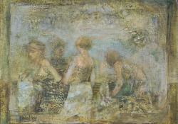 A vásárlók, 2005, olaj, vászon, 20x25 cm