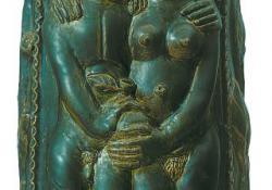 Ádám-Éva butélia, 1993, fedőmázas kerámia, 55 cm