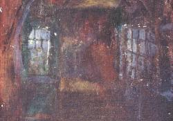 Alagsor-pince, 2011, olaj, vászon falemezen, 18x13 cm