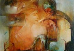 Az örök ifjúság forrásánál, olaj, vászon, 70x60 cm