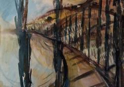Balatoni jegenyesor, 1973, papír, akvarell, 50x37 cm