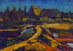 Bányai házak, patak I, olaj, karton, 25x30 cm