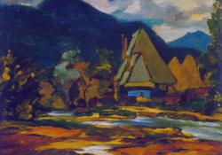 Bányai házak, patak II, olaj, karton, 25x30 cm