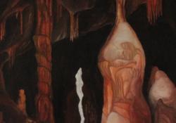 Baradla barlang, Szent László oszlop, 2005, vászon, olaj, 70x50 cm
