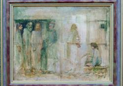 Bibliai jelenet, 2004, olaj, vászon, 40,5x50,5 cm