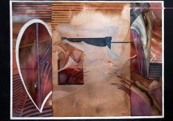 Csíkos kép, 1984, akvarell, papír, 40x50 cm