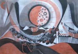 Csodaszarvas, 2010, papír, kréta, 100x70 cm