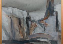 Csókakő, 1990, vegyes techn, farost, 51x50 cm
