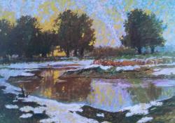 Decemberi alkony, 1985, olaj, farost, 60x70 cm