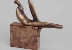 Délelőtt, 2003, bronz, kő, 28 cm