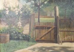 Kertrészlet, 1920-as évek, karton, olaj, 24x29 cm