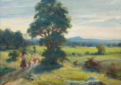 Tájkép sétáló családdal, olaj, farost, 49x57,5 cm