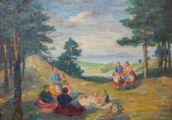 Pihenő társaság a Balaton partján, olaj, vászon, 46x55 cm