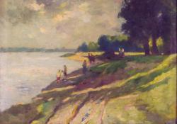 Dunapart, 1955, olaj, vászon, 51x60 cm