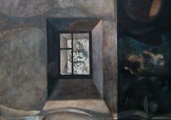 Egervári művésztelep emlékére, 1985, olaj, farost, 100x100 cm