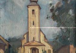 Egytornyú templom, 1937, olaj, vászon, 48x35 cm