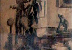 Enteriőr, 1930-as évek, papír, akvarell