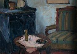 Enteriőr, 1965, olaj, farost, 60x50 cm
