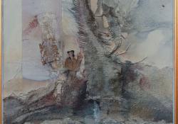 Enyészet, 1998, vegyes techn, farost, 50x50 cm