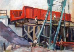 Építkezés, akvarell, 41x51 cm