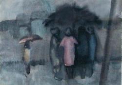 Esőben, 1963 előtt, akvarell, 30x23 cm