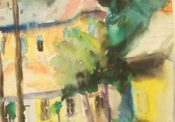 Esztergomi utcakép, 1963, papír, akvarell, 41x29 cm