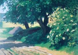 Eszterpusztai út, 1931, olaj, vászon, 32x27 cm