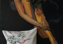Éva almája, 2010, vászon, akril olaj, batik, 100x80 cm